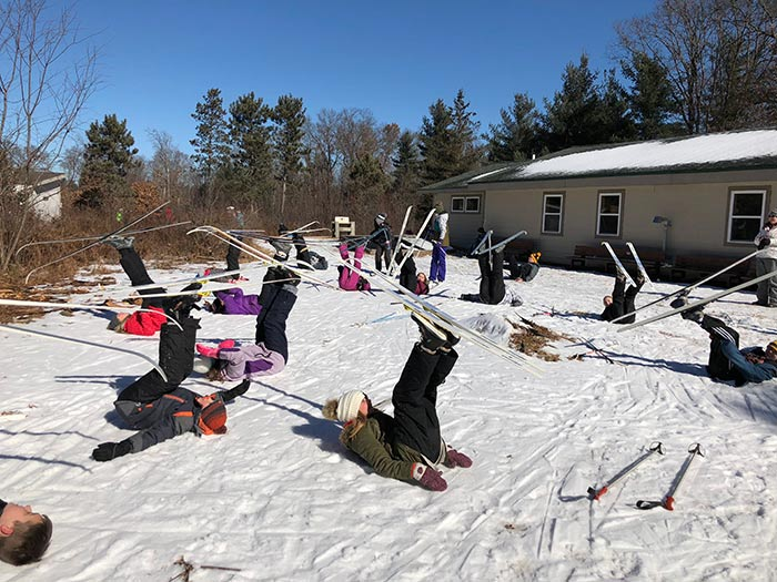 Seventh graders learned about cross country skiing during a recent trip to the OEC.