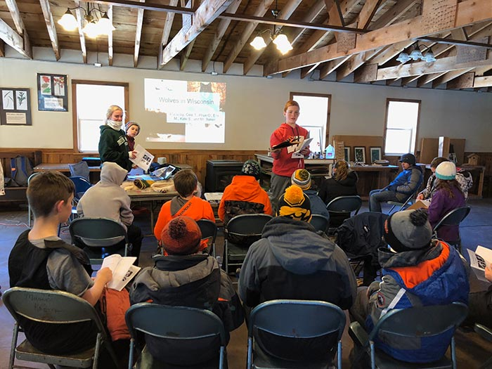 Seventh graders that attended Trees for Tomorrow had the opportunity to teach their classmates about all they learned on their trip including water ecology, cross country skiing, wolves and the effects of insulation.
