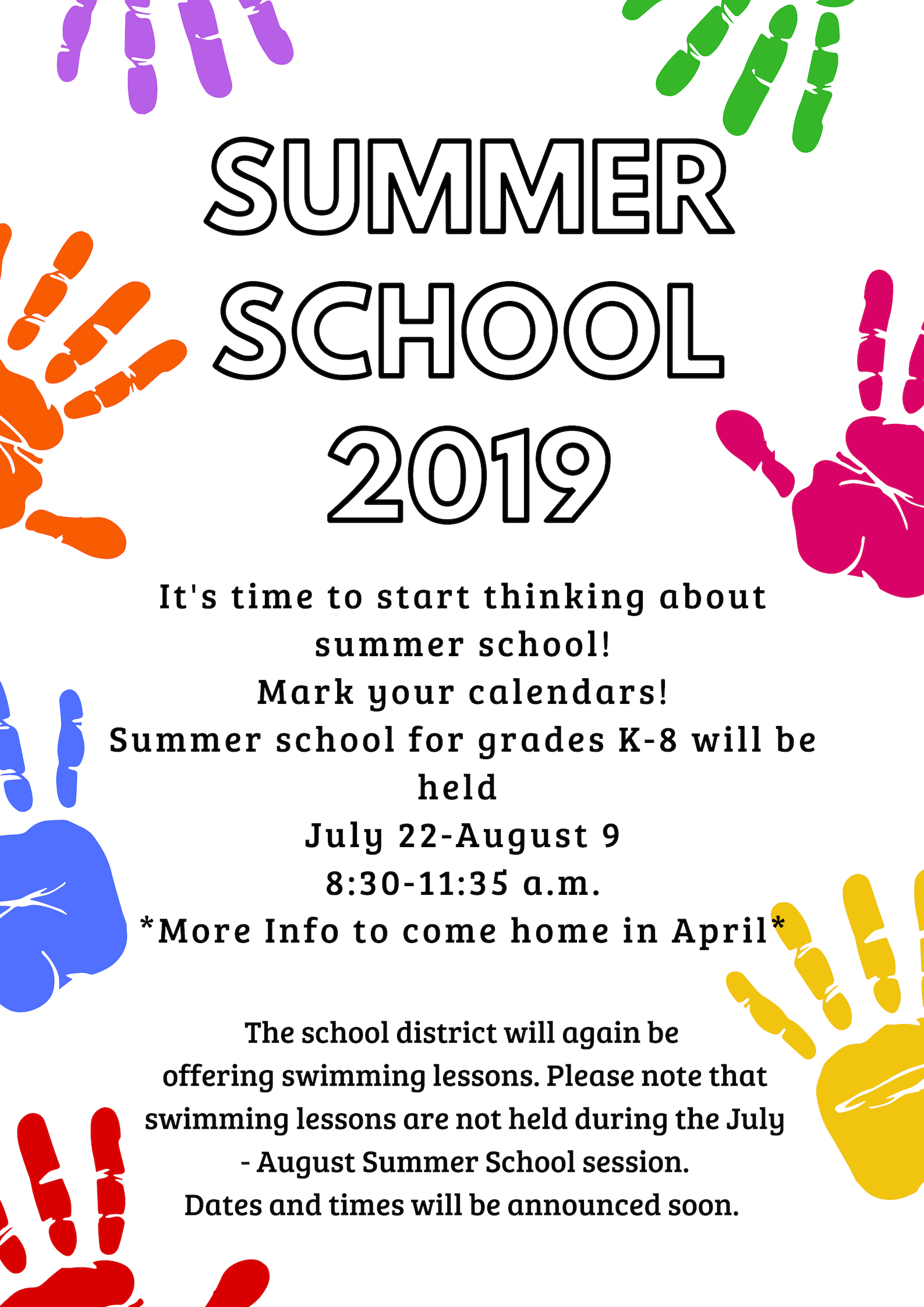 2019 Summer School Dates - News - School District of West Salem